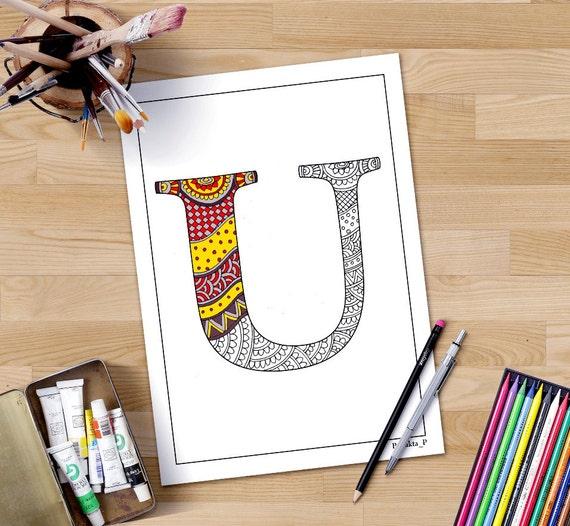páginas para colorear de alfabeto alfabetos doodle crecido   Etsy