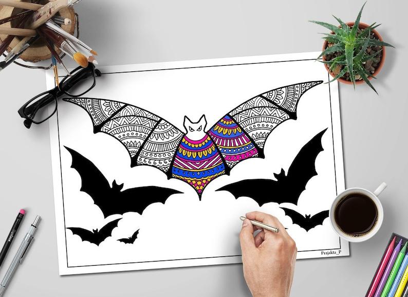 Kleurplaten Halloween Pompoen Vleermuis.Halloween Kleurplaten Voor Volwassenen Zentangle Vleermuis Etsy