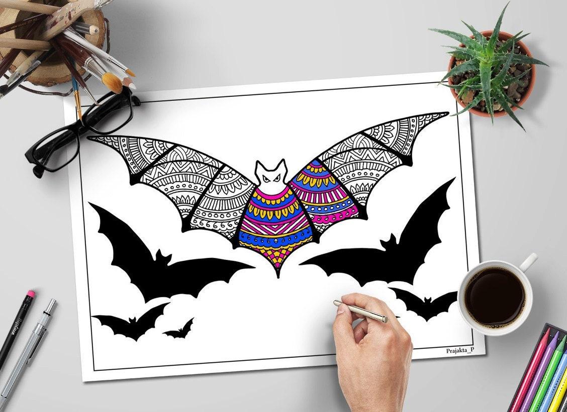 halloween malvorlagen für erwachsene zentangle fledermaus