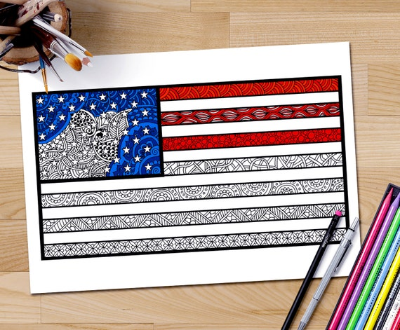 American Flag Coloring Page Adult Zentangle USA