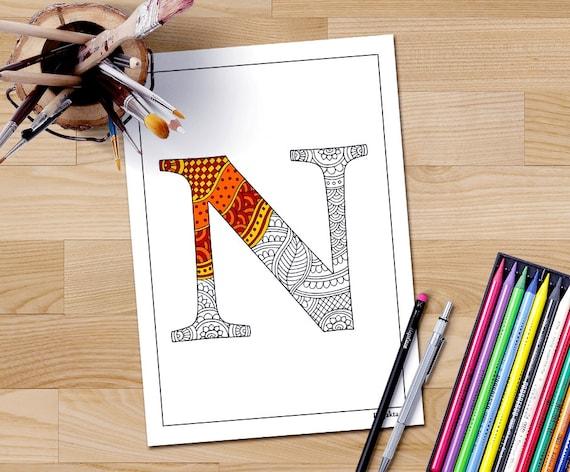 Adultos para colorear letra N alfabeto imprimible terapia | Etsy