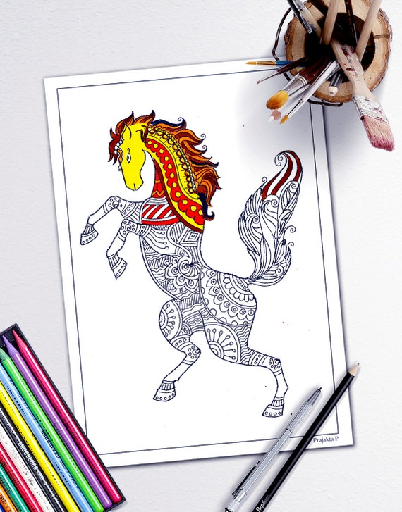 adult coloring book page stress relieving animal designs, adult coloring  pages animals,printable Horse coloring page, Zentangle horse, diy