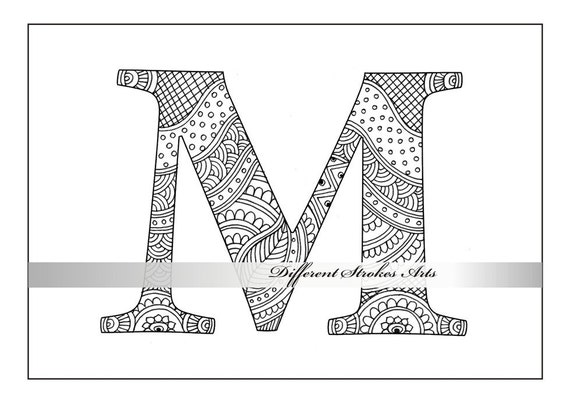 colorear libro Descargar letra M del alfabeto de zentangle   Etsy