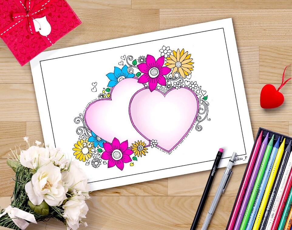 Valentinstag Herzen druckbare Ausmalbilder für Erwachsene DIY | Etsy
