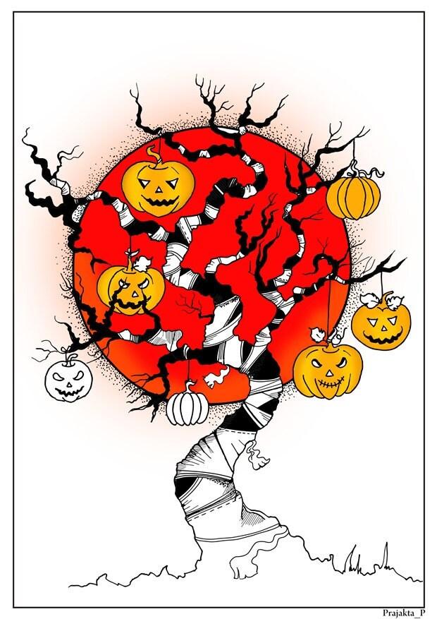 Kürbis-Baum Färbung Seite sofort-Download Erwachsenen Buch | Etsy