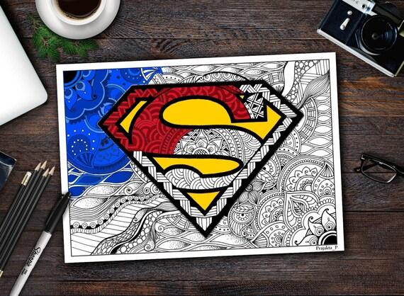 Pagina Da Colorare Di Superman Supereroe Zentangle Etsy
