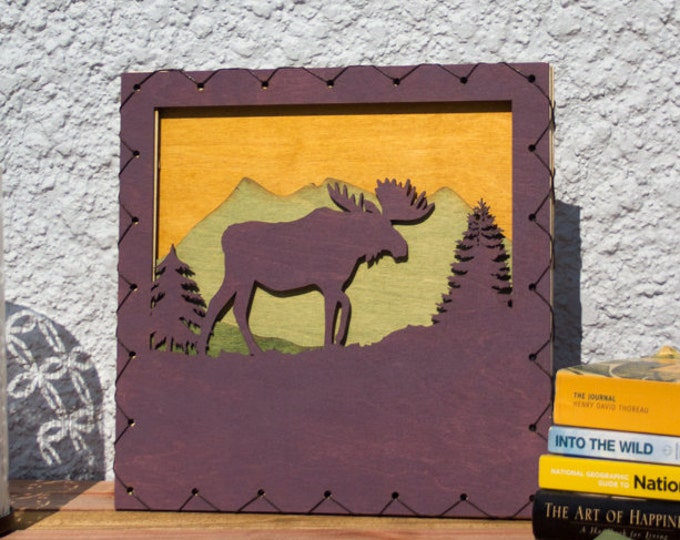 Large: Moose Rustic Styled Wood Wall Art