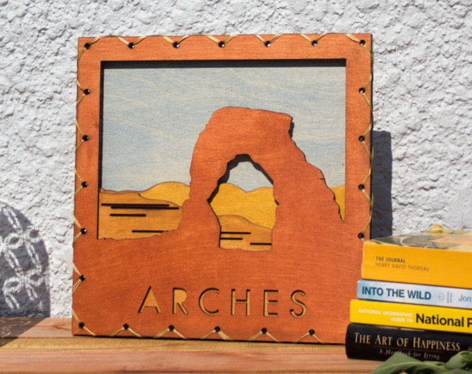 Large: Rustic Styled Arches Wood Wall Art - National Park Inspired