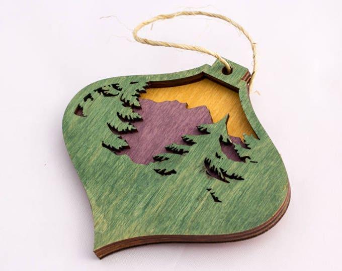 Montana Christmas Ornament - Mountain Ornament - Rocky Mountain Christmas - Forest Ornament - Pine Tree Ornament
