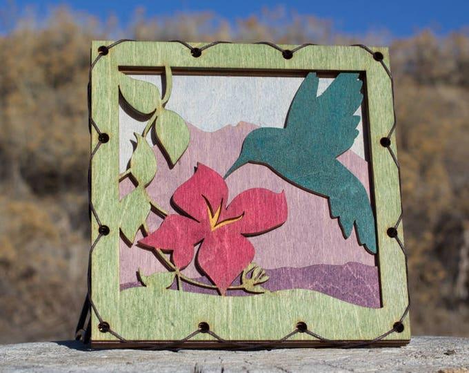 Rustic Styled Hummingbird Wood Wall Art