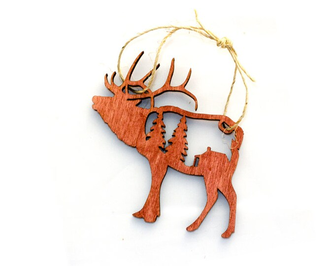 Elk Christmas Ornament - Mountain Christmas Ornament - Mountain Ornament - Cabin Christmas - Forest - Pine Tree Ornament - Rustic ornament