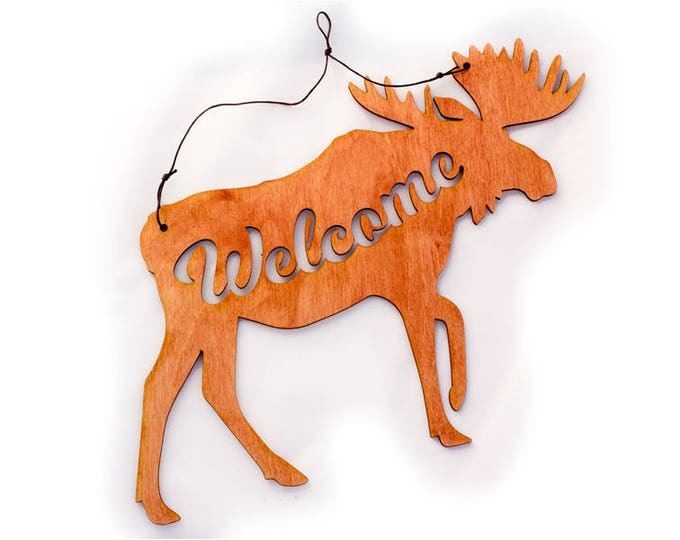 Moose Decor - Rustic Wall Art - Mountain Wall Art - Moose Scene - Welcome Home Art - Moose Gift - Moose Art - Welcome Sign - Mountain Gift