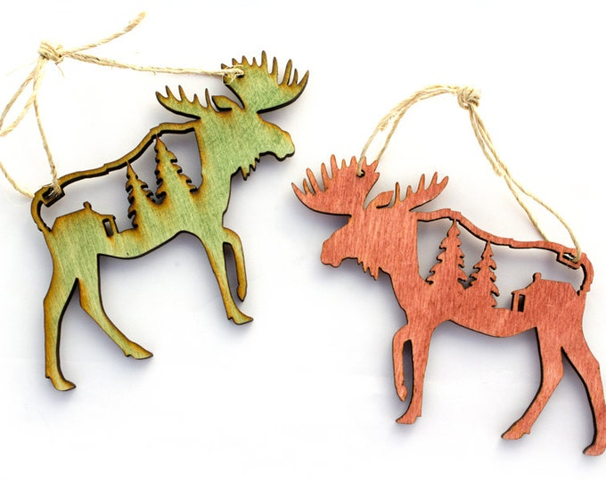 Moose Christmas Ornament - Mountain Christmas Ornament - Mountain Ornament - Cabin Christmas - Forest - Pine Tree Ornament - Rustic ornament