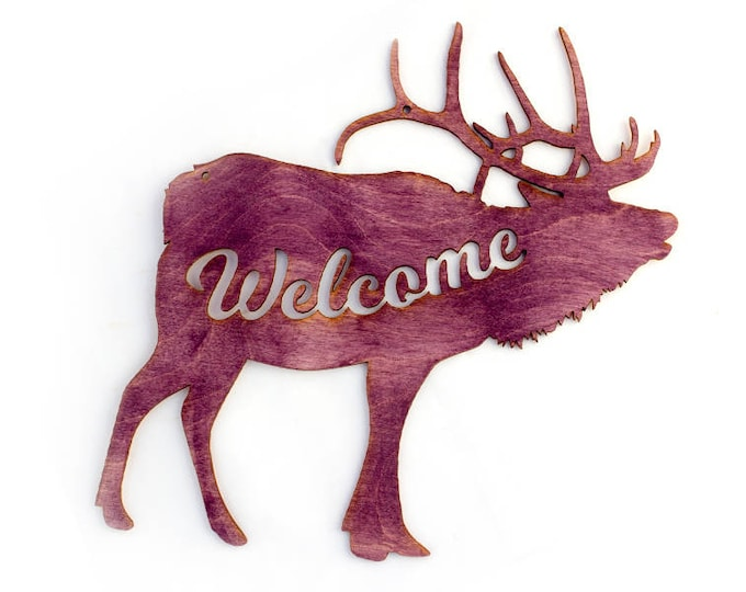 Elk Welcome Sign - Rustic Wall Art - Mountain Wall Art - Elk Decor - Welcome Home Art - Elk Gift - Elk Art - Welcome Sign - Mountain Gift