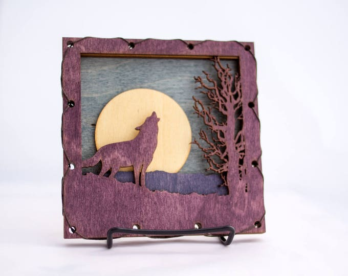 Rustic Styled Wolf Wood Wall Art