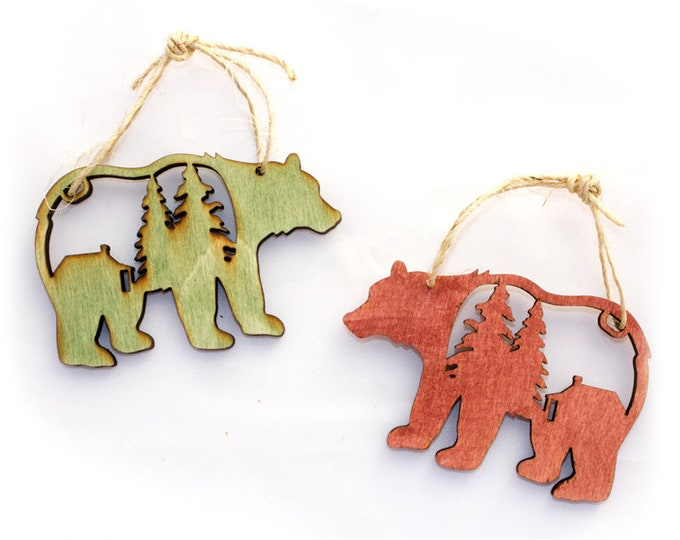 Bear Christmas Ornament - Mountain Christmas Ornament - Mountain Ornament - Cabin Christmas - Forest - Pine Tree Ornament - Rustic ornament