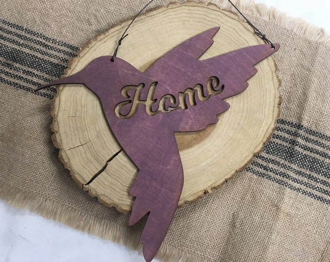 Hummingbird Home Sign- Rustic Wall Art - Bird Wall Art - Hummingbird Decor -  Home Sign - Bird Lover Gift