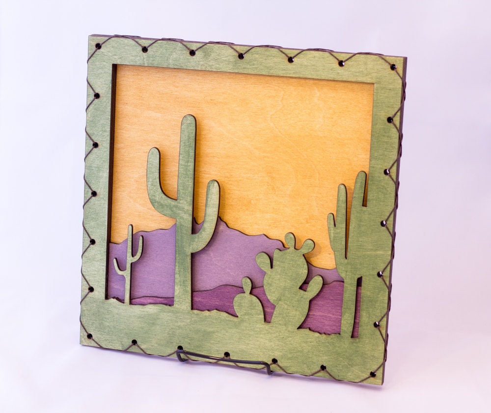 Southwest Art - Southwest Decor - Cactus Wall Hanging - Saguaro Wall ...