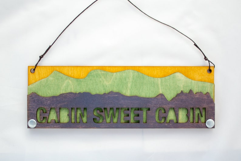 Mountain Text Sign: Cabin Sweet Cabin Sign image 0