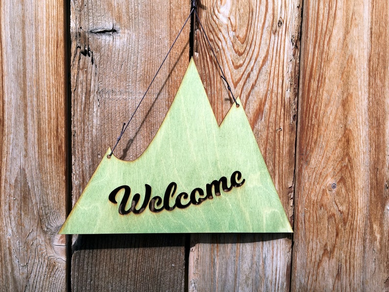 Mountain Welcome Sign  Rustic Wall Art  Welcome Sign  image 0