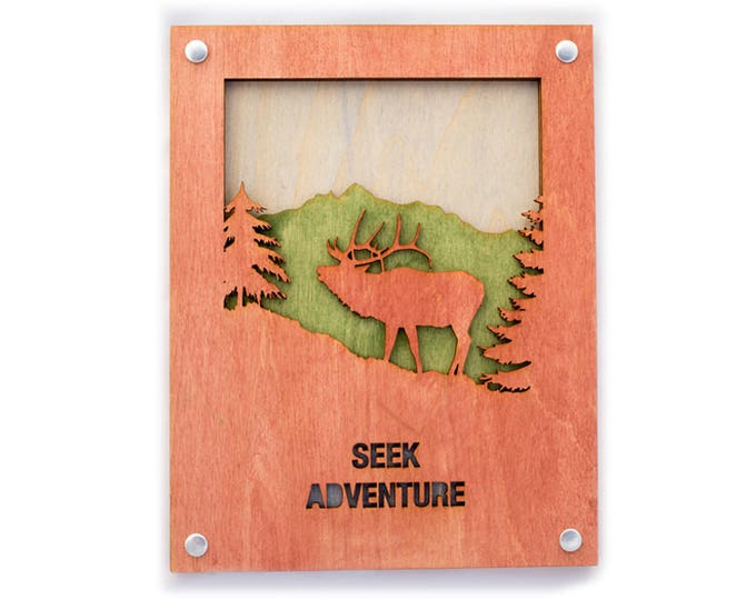 Elk Wood Wall Art with Rustic Style