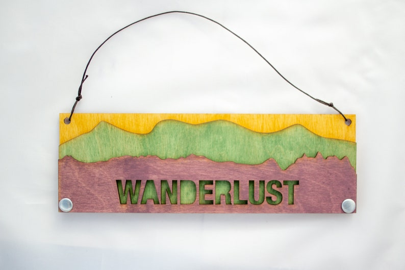 Mountain Text Sign: Wanderlust image 0