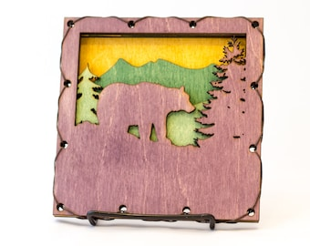 Bear Lover Gift - Nature Wall Art - Rustic Home Decor - Bear Rustic Decor - Bear Art