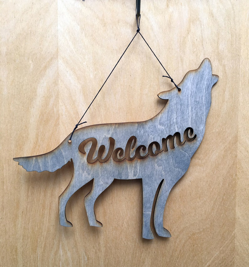Wolf Welcome Sign Howling Wolf  Wolf Lover Gift  Wolf Decor image 0