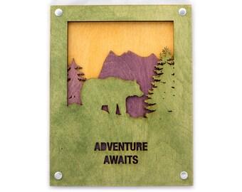 Bear Rustic Wall Art - Mountain Home Art - Adventure Gift - Nature Lover Gift