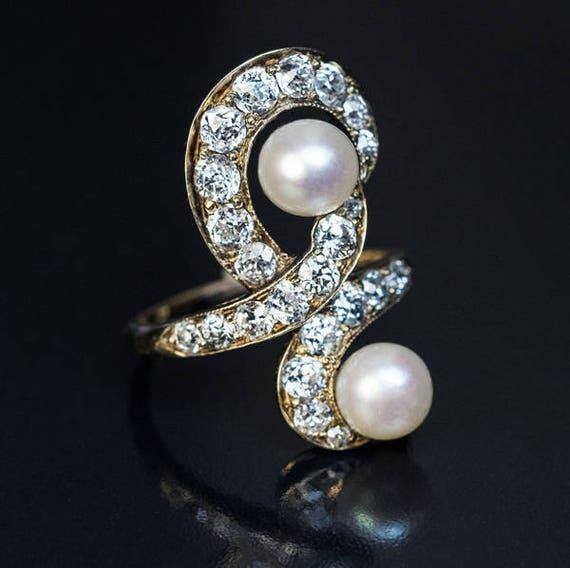 Belle Epoque Antique Diamond Pearl Gold Ring