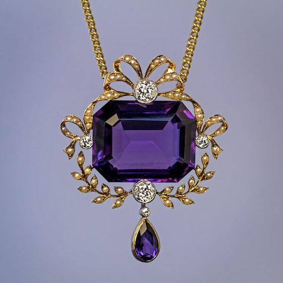 Belle Epoque Antique Amethyst Diamond Pearl Neckla