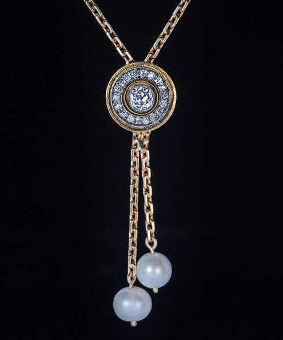 Antique Diamond Pearl Gold Drop Necklace