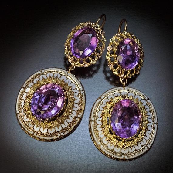 Antique Amethyst Enamel Gold Earrings