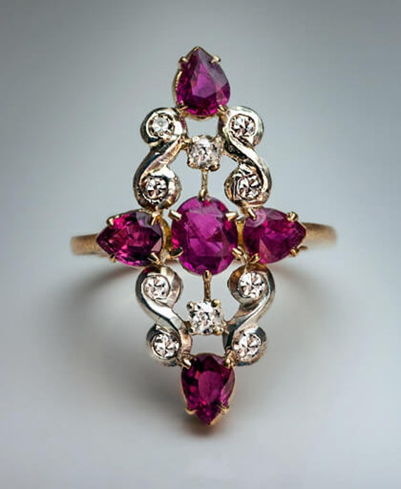 Vintage Ruby and Diamond Gold Silver Ring 1920s
