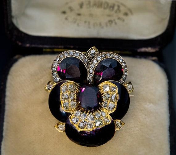Antique Russian Garnet Enamel Diamond Gold Pansy B