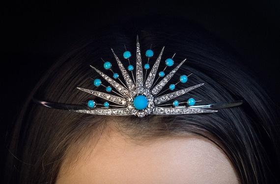 Antique 19th Century Turquoise Diamond Sunburst Ti