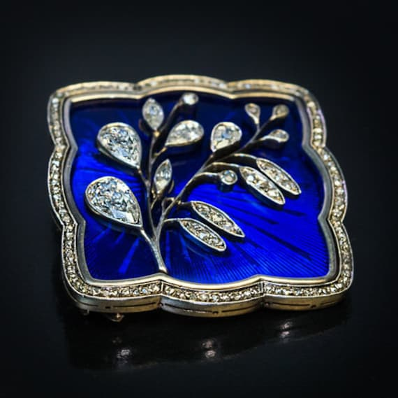 Art Nouveau Antique Russian Diamond Enamel Brooch
