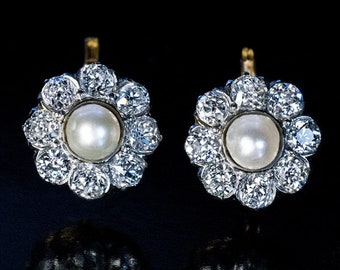 Antique Pearl Diamond Platinum Gold Cluster Earrings