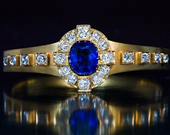 Antique French Sapphire Diamond Gold Bracelet