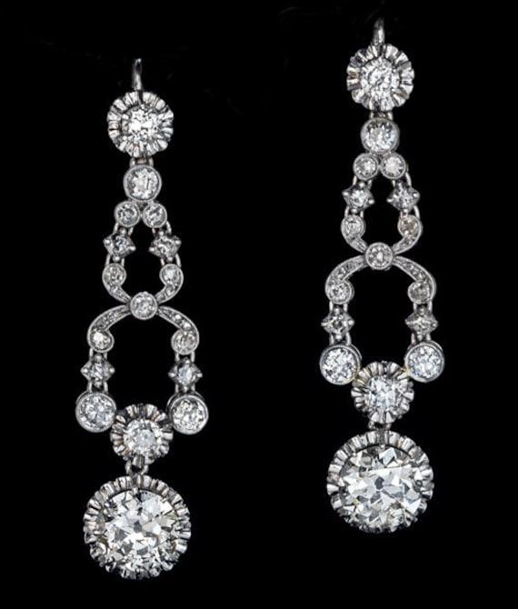Art Deco Vintage 7 Ct Diamond Platinum Earrings 19