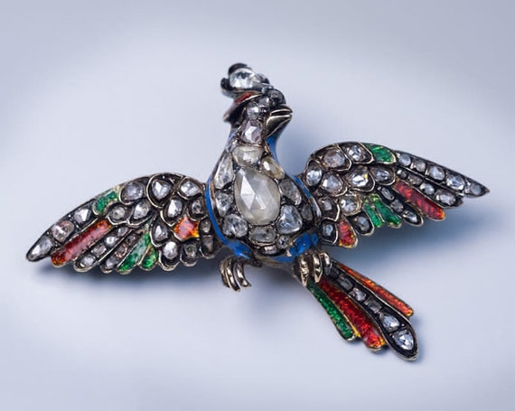Georgian c. 1750 Diamond Enamel Bird of Paradise B