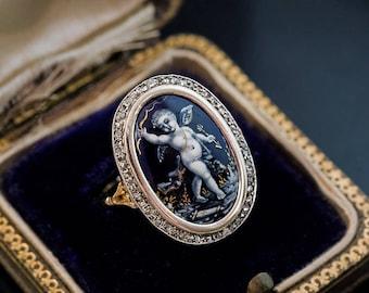 Antique Limoges Enamel Diamond Gold Victorian Ring