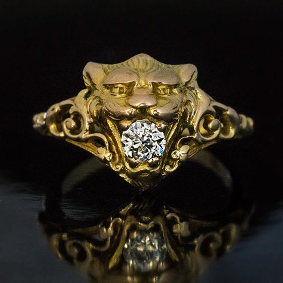Belle Epoque Antique Diamond Gold Lion Ring