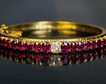 Antique Victorian Era Ruby Diamond Gold Bangle Bracelet