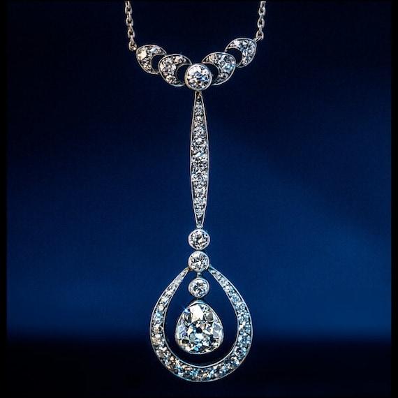 Antique Edwardian Drop Shaped Diamond Necklace