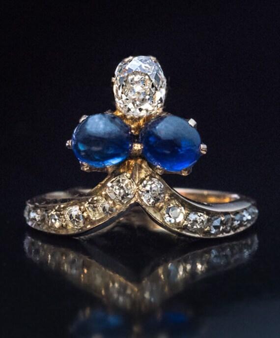 Belle Époque Antique Cabochon Sapphire Diamond Tia