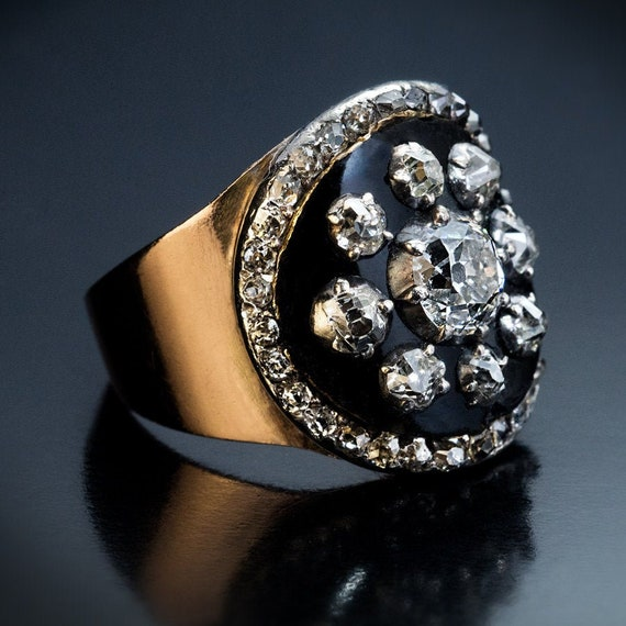 Rare Antique Black Enamel Diamond Gold Unisex Ring