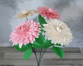 Paper flower dahlia bouquet and card - Mother's day, birthday, anniversary, get well soon - paper flowers