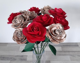 Map and red paper roses - Valentines day, Christmas, birthday, Anniversary, Mother's Day gift for her