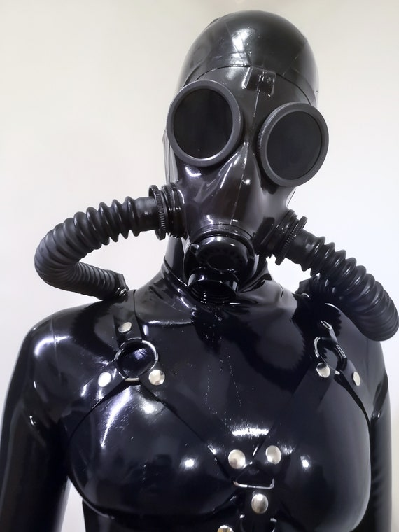 Heavy rubber coat and gas mask rubberhell